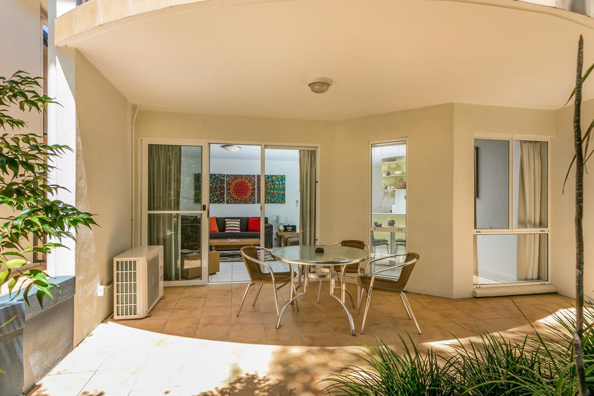 Byron Bay Beach Haven 1 Bedroom Apartment Looking Into Lounge Room From The Patio
